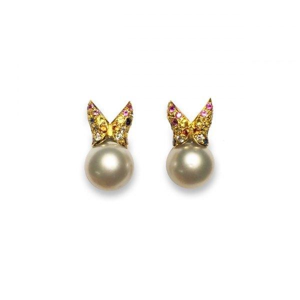 Pendientes de oro y perlas australiana con piedras preciosas