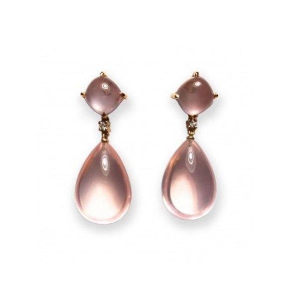 Pendientes de oro rosa con brillante y cuarzo rosa.